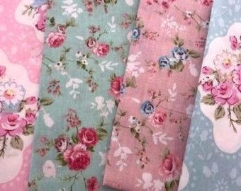 4 shabby pink blue flower  precut Fat Quarter 100% cotton fabric quilt vintage floral