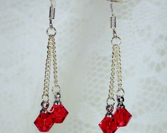 "Cynthia Lynn ""DAZZLE DROPS"" Sterling Silver Siam Red Swarovski Crystal Drop Earrings"