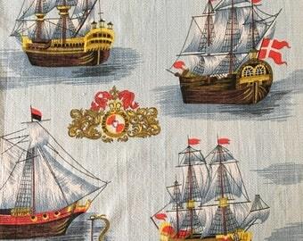 Vintage BLUE sailing ship print Mid Century barkcloth fabric