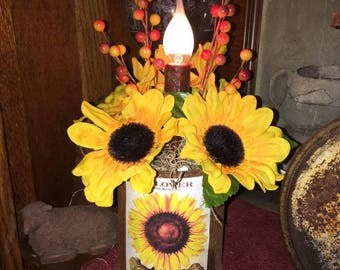 Primitive Rusty Tin Can-dle Sunflower