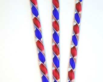 Handblown Art Glass Ribbon Icicles Red, White and Blue Matched Set