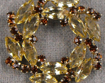 Circular Brooch Topaz Chatons and Citrine Navettes