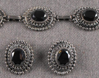 Danecraft Bracelet and earrings Hematite and sterling silver