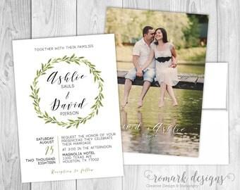 Greens Wreath Wedding Invitation