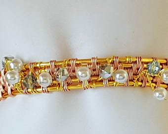 Gold Plated woven beaded bracelet