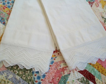 Vintage Handmade Knitted Lace Edged Pillow Cases Lace Edged Pillow Slips