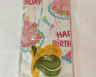 Vintage Happy Birthday crepe paper tablecloth Party Magic