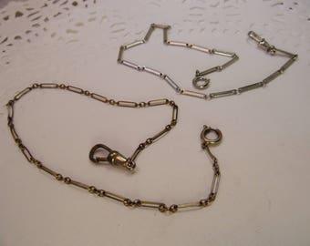 2-Chain Link Antique Pocket Watch Chains