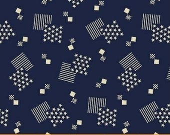 Patriotic Fabric by the Yard, Quilting, Stars, Stripes, American, Flag, USA, Novelty, Independance, Cotton, 4th of July, Navy, White, Decor