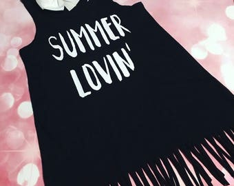 Girls Summer Dress, Summer Lovin', Black Dress, Fringe Dress, Girls Summer Dress, Toddler Dress, beach cover up