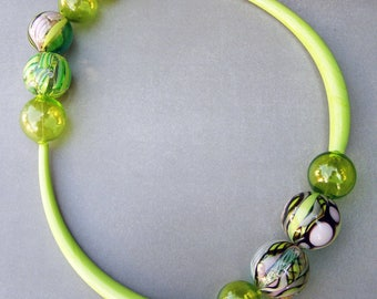 Bubble glass necklace-Murano glass necklace-Lampwork hollow glass necklace-Statement glass necklace-Exclusive creation by CSG