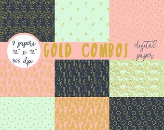 ON SALE Scrapbook Paper, Gold Patterns, Digital Paper, Digital Paper Pack, Digital Scrapbook, Digital Wallpaper