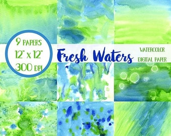 ON SALE Blue and Green Watercolor Paper, Scrapbook Paper, Blue and Green, Digital Wallpaper, Digital Scrapbook Paper, Digital Paper Pack