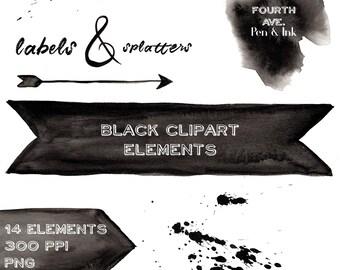 Black Clipart Lables, Black Clipart Elements, Black, Watercolor, Labels, Banners, Hand Painted, Clipart Elements, Digital Scrapbook Elements