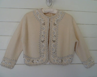 Vintage 50's Cream Color Hand Glass Beaded Sweater Cardigan 1950's