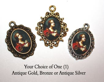 St. Mary Magdalene Catholic Mini Medal to add to Rosaries/Bracelets/Necklaces/ Your choice of Bronze, Antique Gold or Antique Silver
