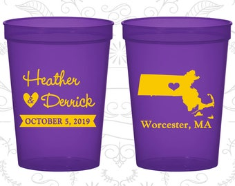 Massachusetts Wedding Cups, Massachusetts Wedding, Beer Cups, Destination Wedding, State Cups, Wedding Cups (120)