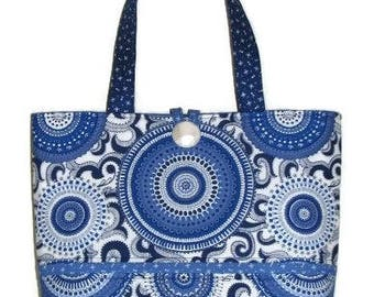 Modern Quilted Handbag, Handmade Summer Purse, Blue and White Boho Handbag, Quiltsy Handmade