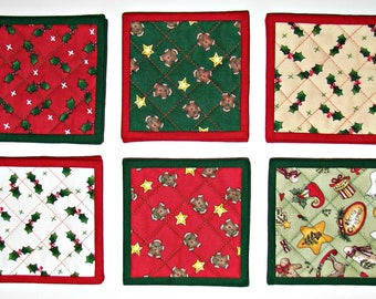 Quilted Christmas Coasters, Fabric Drink Coasters, Christmas Mug Mats, Set of 6,  Stocking Stuffer, Quiltsy Handmade