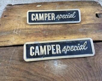 2 vintage camper special badges
