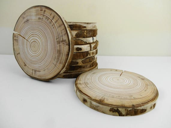 6 wood slices wood slabs tree trunk slices chargers for Wood trunk slices