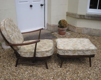Vintage Mid Century Ercol Armchair and Matching Footstool/Day Bed