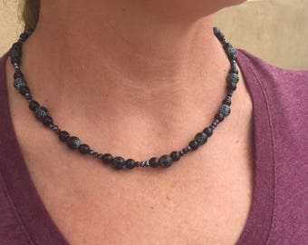 Necklace with black Agate, Onyx, and Hematite beads