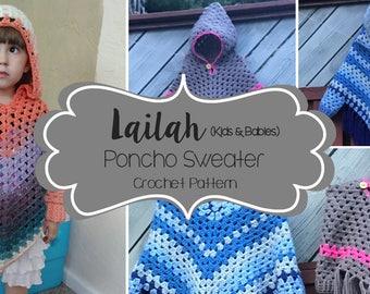 Crochet Pattern // Lailah Poncho Sweater (Child) // Easy/Intermediate