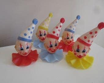 5 vintage clown cake toppers / Wilton Hong Kong