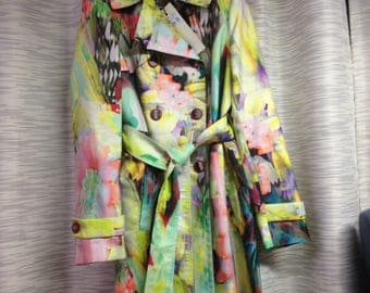 Trench coat SFIZIO ITALY, multicolor, new with tag, size IT 42 ( us 4 )
