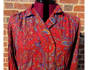 Vintage Paisley Dress/80s Dress/Double Breasted/Shirt Dress/Boho Dress/Bohemian/Psychedelic/Ethnic Print/Hippie Dress/Hippy Dress/UK 16