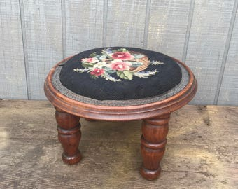 Vintage Antique Needlepoint Footstool, Art Deco Walnut Footstool,  Victorian Ottoman, Cottage Chic, Black and Roses