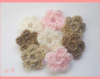 Lot 8 flowers applique crochet pink / Brown / ECRU 2.5 cm wool