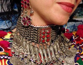 E6603- Vintage Style Kuchi Tribal Earrings - Ethnic Boho Bellydance Statement  Earrings