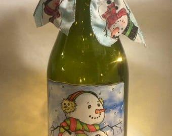 Snowman Themed 1.5 liter Lighted Wine Bottle