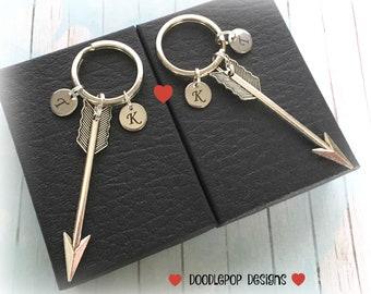 Personalised engagement gift - Large arrow keychains - Initial couple keyrings - Valentine's gift - Wedding gift - Couple gift - UK seller