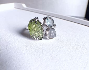raw peridot ring, rough peridot ring, peridot ring, raw peridot, raw sapphire ring, blue sapphire ring, blue tourmaline ring, raw crystals