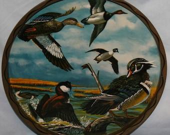 Vtg Mallard Duck Metal Serving Tray Wall Hanging Water Fowl Vintage Man Cave Vintage