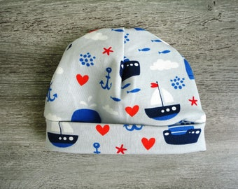 Baby hat with nautical print