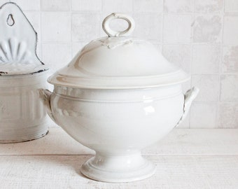 Rare Antique French Ironstone CHOISY LE ROI Bowl Tureen - Vintage White Tureen - Country Chic - French Cottage Shabby Chic Decor