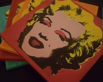 Marilyn Manroe tile coasters set of 4 Andy Warhol style