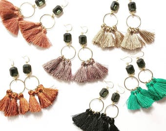 Dancing Queen Tassel Gem Earrings