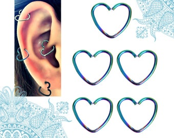 Heart Piercing Rings, 16G Stainless Steel Heart Ring Piercing, 5pc Colorized Nose Ring Tragus Earring Helix Nose Hoop Tragus Daith Septum