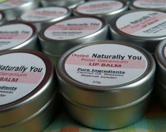 Dojore 100% Natural Rose Geranium Essential Oil Mottled Lip Balm.  Coconut Oil, Bees Wax, Beetroot Powder Colour. Solid Pot & Travel Size