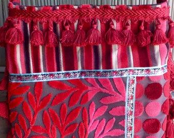 Red Pink Cut Velvet Patchwork Messenger Bag/Cross Body Shoulder Bag-Fabric Handmade-Carpetbag Boho Bag-Retro Gypsy Bags Purses Gift for her