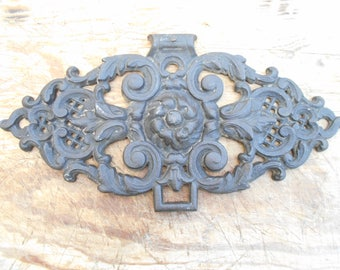 French antique pediment, cast iron door decor, architectural salvage, French adornment.