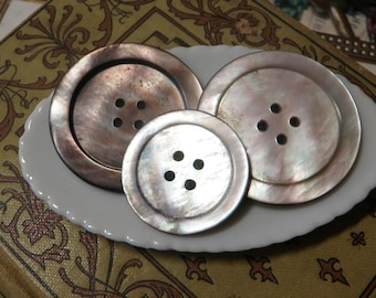 3 Smokey Mother of Pearl Buttons Large Size
