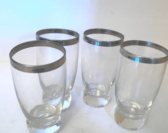 Vintage Set of (4) Silver Trimmed High Ball Tumbler - Great condition