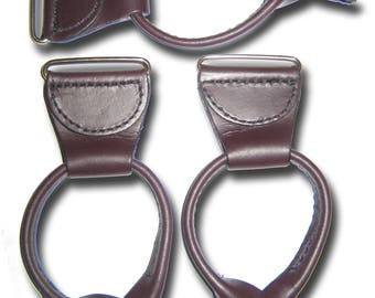 """Leather-Suspenders-Braces-Button-in-Replacements-Parts-set-of-3-with-leather-1.5""""-foldover-housing Brown? Cordovan? Paddles Rabbit Ears"""