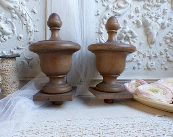 Set of 2 antique french giant wood finials. Salvaged furniture wood finials. Walnut wood newel posts Large size. Architectural salvage